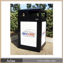 Arlau public advertising single round metal trash bin