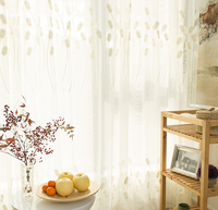 beige embossed embroidered sheer curtains fabric wholesale fancy elegance embroidery curtain living room