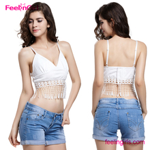 NO MOQ White Deep V Neck Tassel Bra Women Sex Girl Tube Top