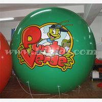 PVC inflatable helium advertising balloon, green round flying ball with custom logo K7070