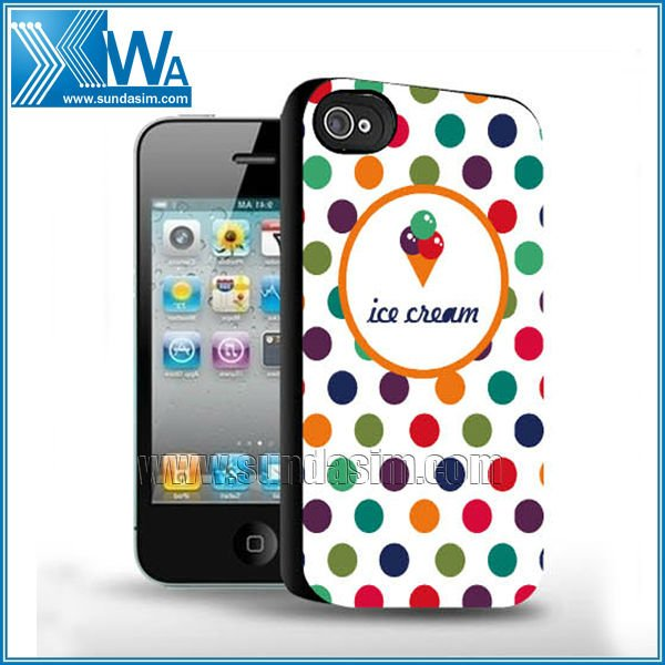 Lovely dot leather paste craft case for iphone 4 4s