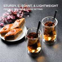 small clear double wall glass tea cups