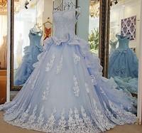 RP57001 Light blue off shoulder wedding gowns with a crumb-catcher neckline crystal chapel train organza beach wedding dress