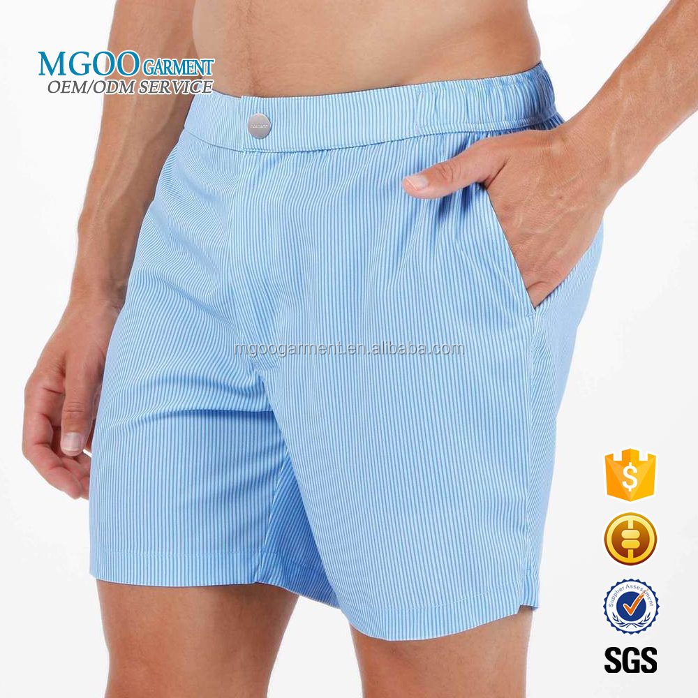 2018 Brand Designs Low MOQ OEM Services Board Shorts Custom Blue Stripe Zip Up Closure Custom Swimming Shorts