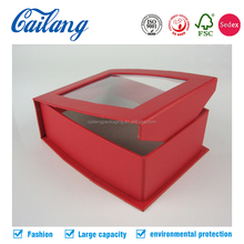 luxury customized top quality magnetic closure display jewellery box with clear PET window free shipping provided for sampling