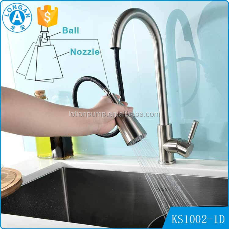 Factory OEM&ODM best long neck Single Handle pull out hot cold mixer kitchen water tap