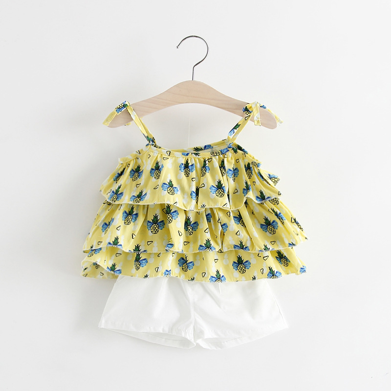 B20867A korea fashion baby girls lovely print sling blouse + short pants sets