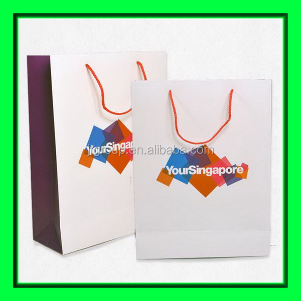 pink color printing art paper gift use Nylon Rope Paper bags