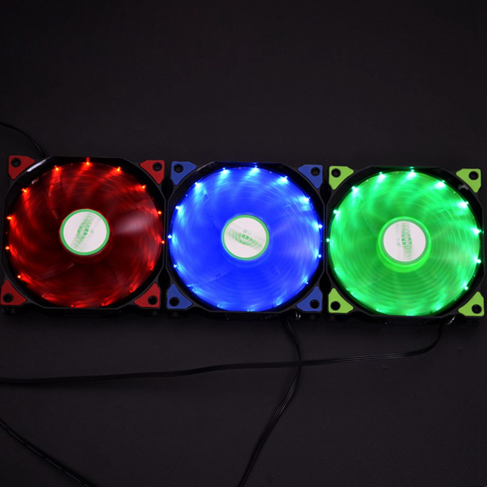 SysCooling High Quality LED 15 Lights Fan 120*120mm DC12V 1600RPM PC water cooling
