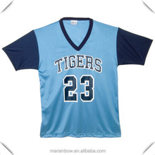 custom made mens v neck mesh baseball jersey with contrasting sleeves ,bulk wholesale clothing made in China