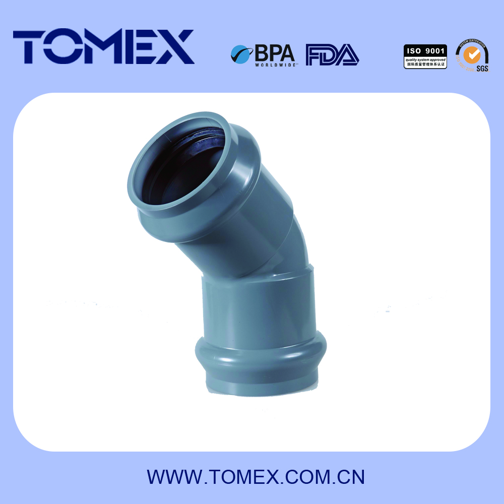 Tomex pipe coupling joint PVC rubber water supply rubber elbow 45