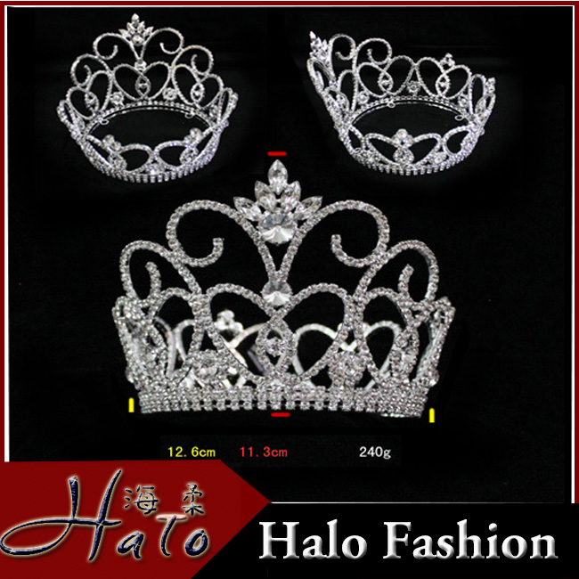 2015 New Design Round Rhinestone Cheap Full Pageant Crown H172-169