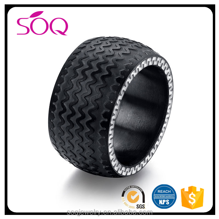 China factory wholesale fashion personalized unique black tire pattern jewellery mens rings