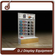 Useful design customized size MDF PD and iron material display stand for mobile accessories