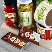 Adhesive labels on roll for plastic food container