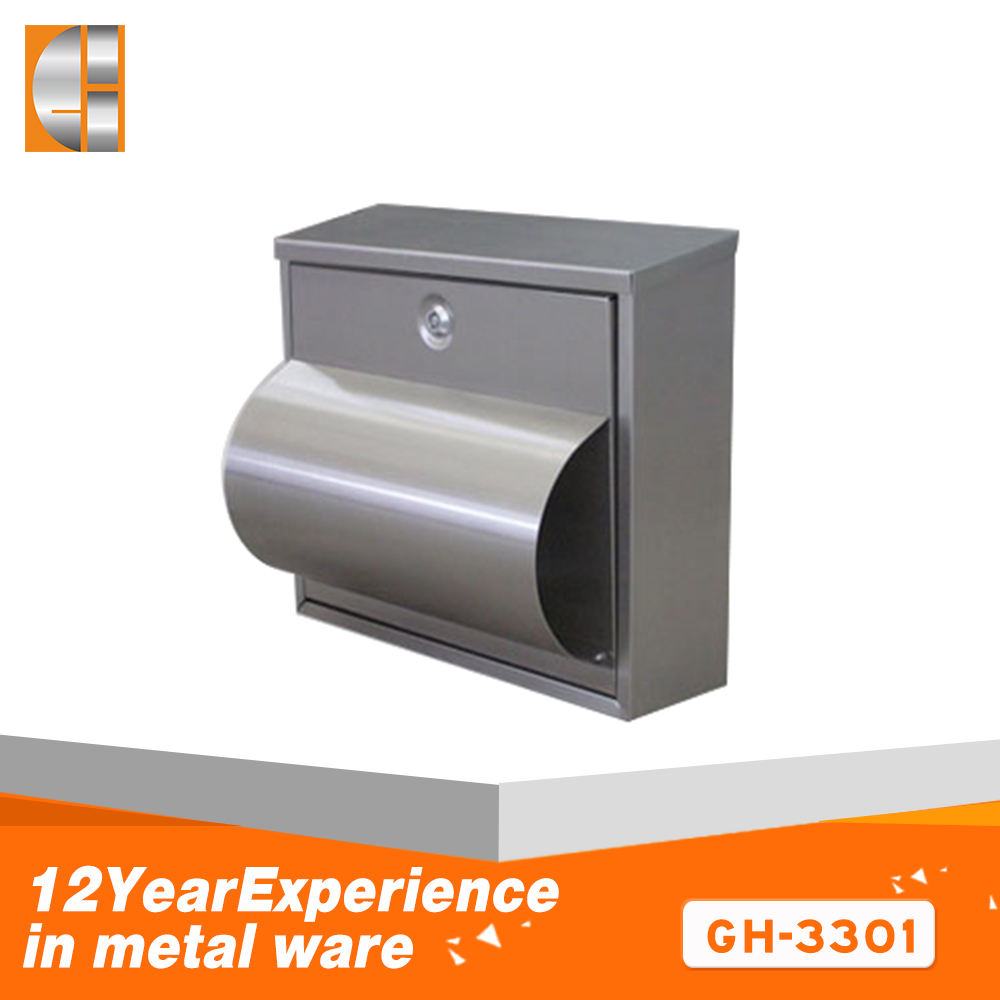 Stainless steel wall mounted  waterproof  mailbox