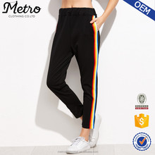 Fashion Women Black Terry Rainbow Stripe Side Sport Pants