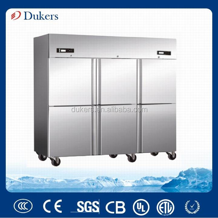 Dukers 1600L cooler and freezer double temperature stainless steel commercial refrigerator, fan cooling Q1.6F