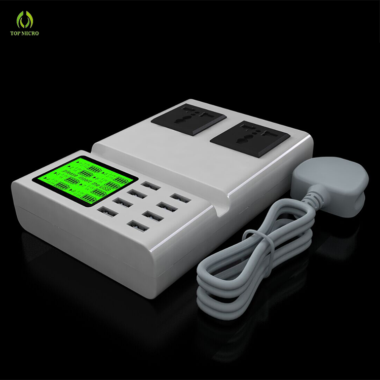 Hot Selling US/EU/UK Multi Cell Phone 8 USB Charging Adapter Dual AC Socket Charger Station