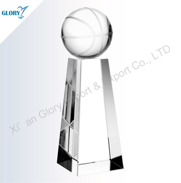 Black Base Round Crystal Basketball Trophy