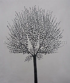 Newest Handmade Black White Tree Painting On Canvas