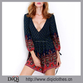 Latest styles top fashion Navy Long Sleeve V Neck Vintage Print sexy womens playsuit