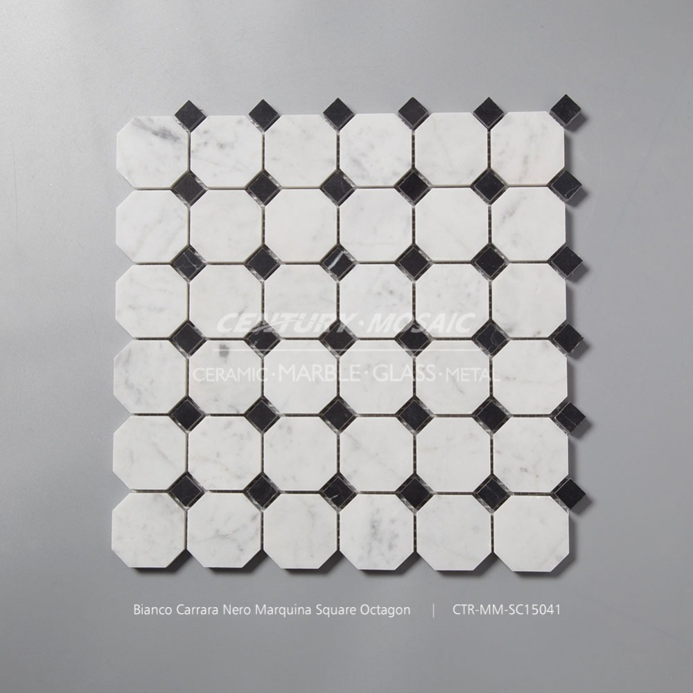 honed pure white bianco carrara nero marquina square octagon marble mosaic tile