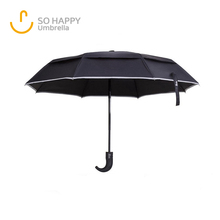 21 Inch Automatic 3 Folding Safety Umbrella With Light Reflection Strip