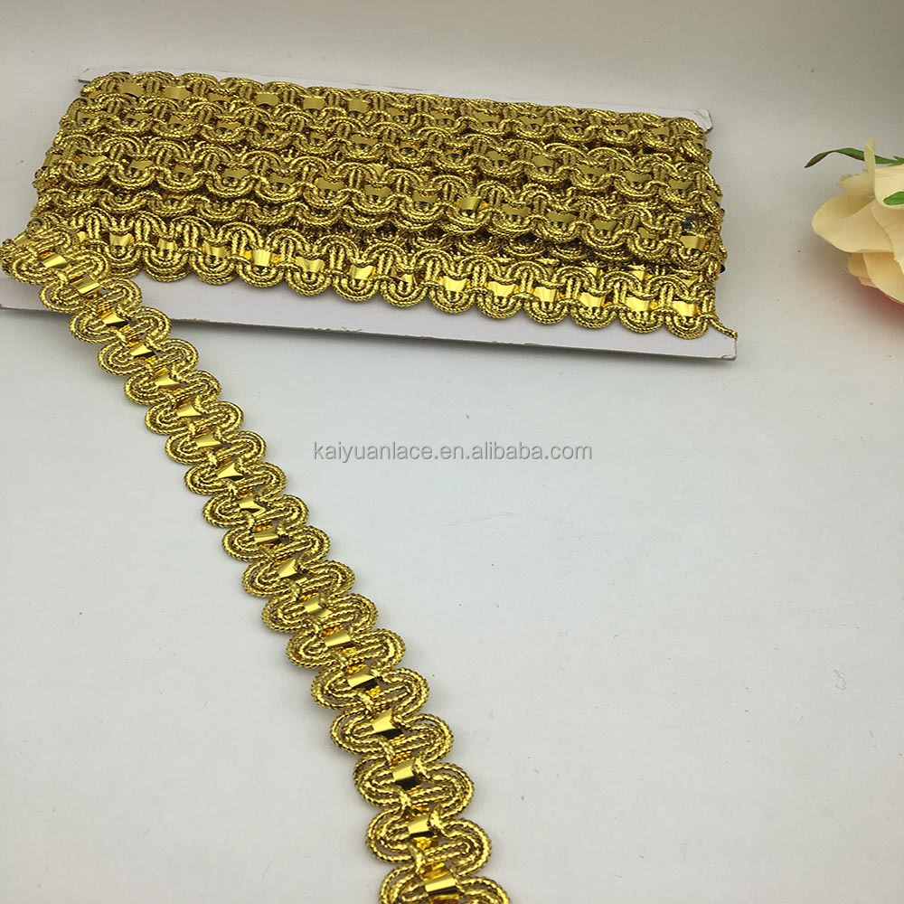 wenzhou kaiyuan supplier custom metallic golden trim gold braid ribbon lace