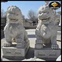 Hand carved large white marble stone foo dog statues