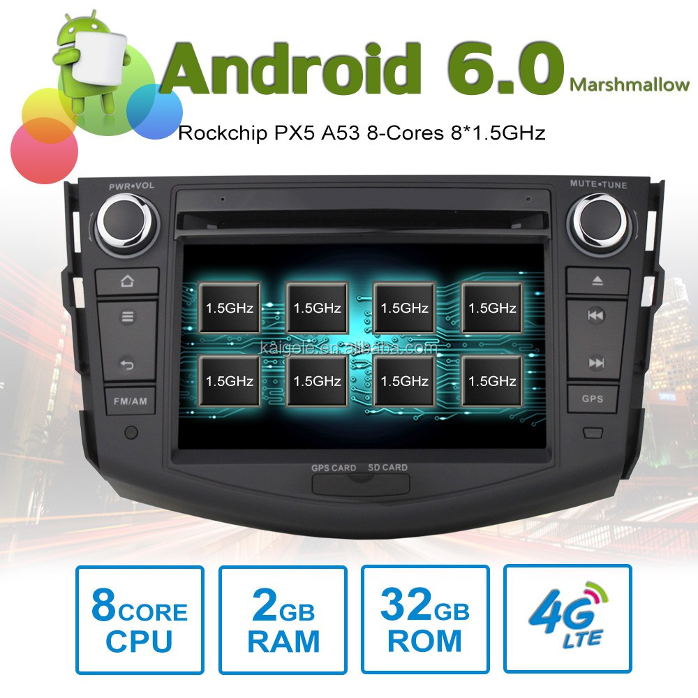8 core Android6.0 octa core car stereo for Toyota Rav4 2012 GPS with 8 Cores 2GB RAM 32GB ROM support 4G SIM Card