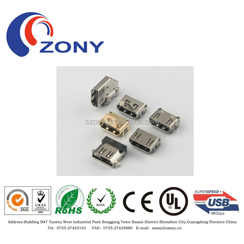 19pin super high quality PCB hdmi type a female connector