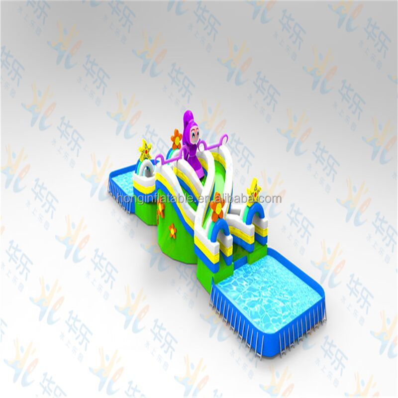 2016 hot Mini inflatable water park with slide, inflatable floating water park for sale
