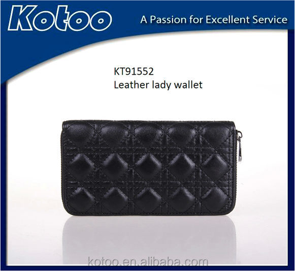 High quality black leather long zipper lady purse wallet /evening clutch bag