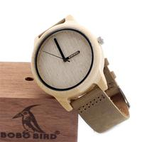 Custom logo luxury wooden watch Genuine Leather strap wood bracelet quartz watch