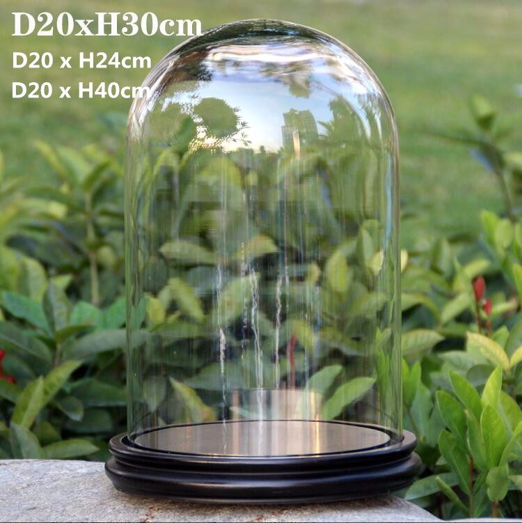30x30cm new product flower glass dome glass display dome jewelry glass dome