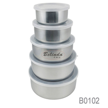 Freshness Preservation 5Pcs Metal Round Storage Set Stainless Steel Container for Food