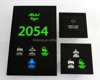 Special Guest Room Touch Doorplate Logo Number Backlight Changing Hotel Door Switch