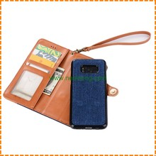 Bicolor 2 in 1 Denim Jeans PU Leather Case For Samsung Galaxy S8