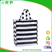 Classical design big capacity black white stripe pp non woven shopping durable bag