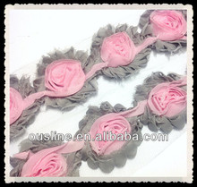 shabby rose trim, shabby chiffon flower trim, shabby chic wholesale