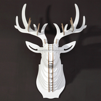 Nordic Creative home decorations wood wooden carving MDF 3D DIY craft Christmas home decor reindeer deer elk wall art decor