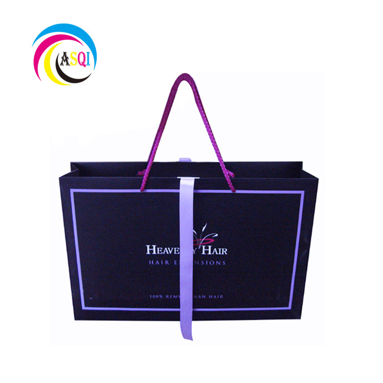 Free samples in stock Purple and black customize hair extension packaging shopping paper bag with purple silk ribbon close