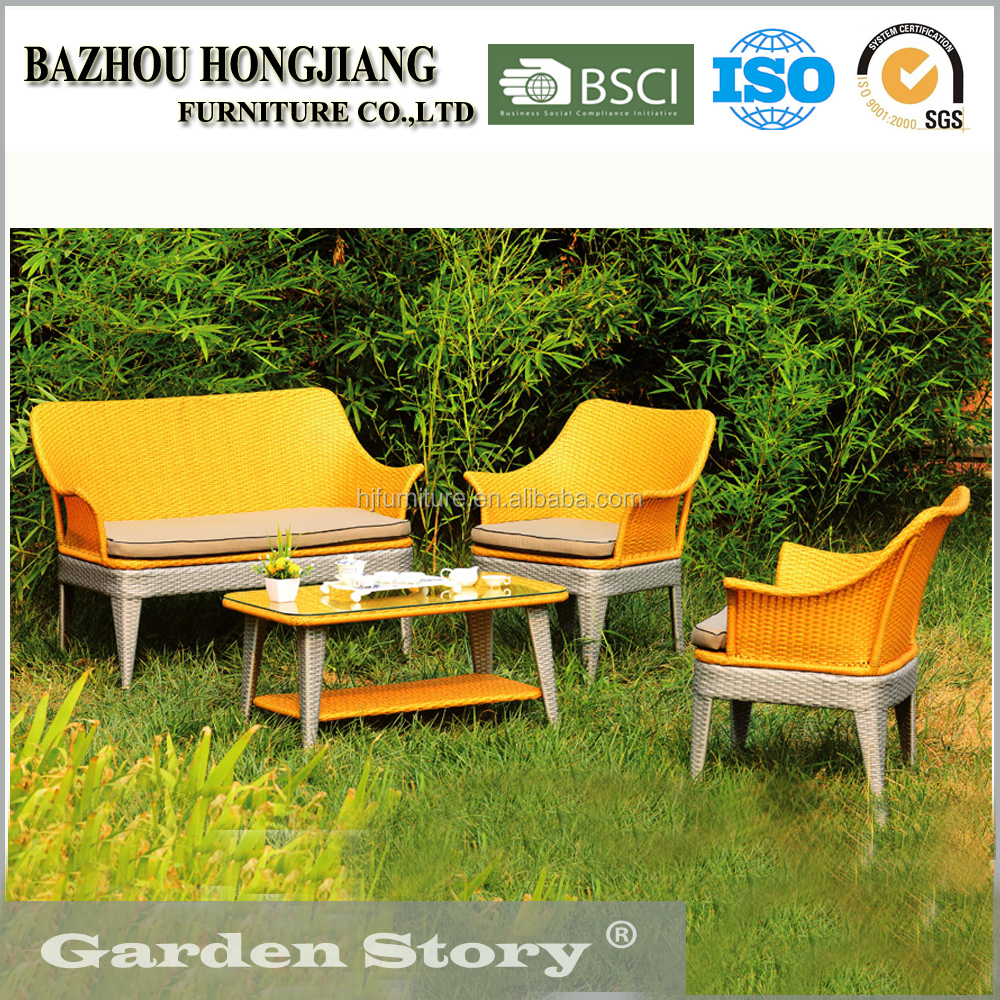HJ-1640 Cafe table Chair set with loveseat in garden furniture