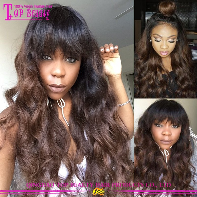 Dark Roots Color #1B/#6 Ombre Full Lace Wig Raw Virgin Unprocessed Human Hair Ombre Wig