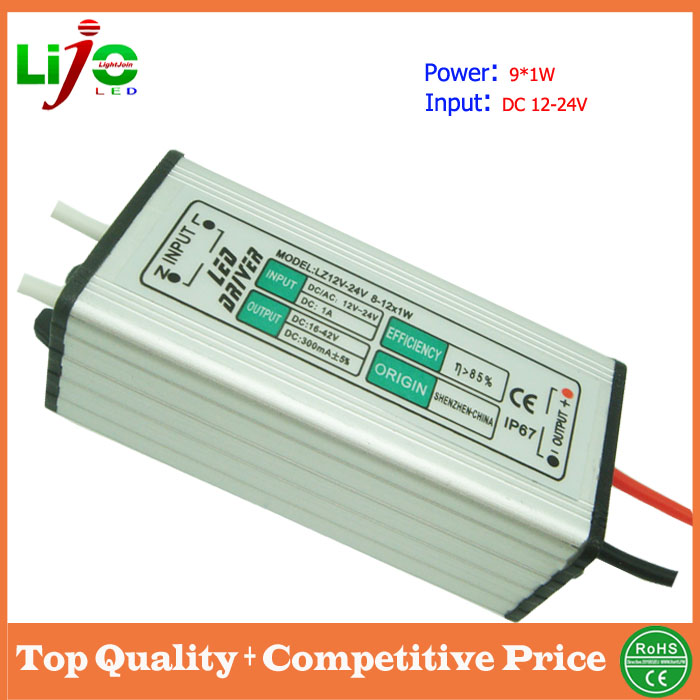 ip65 waterproof 9w 12v 300ma constant current dc led driver