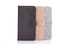 Wholesale zebra-stripe leather wallet case for iphone 6 plus