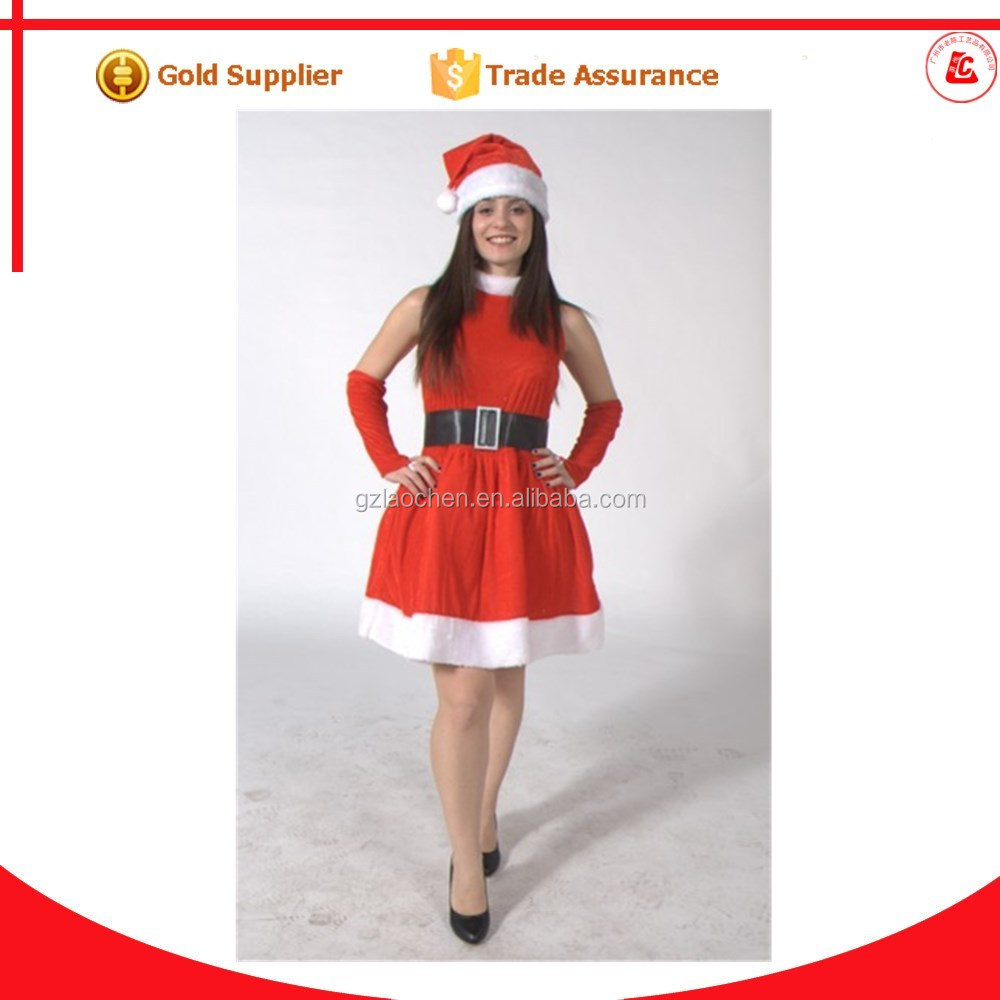 hot sale santa costume christmas outfit red girls christmas wedding dresses
