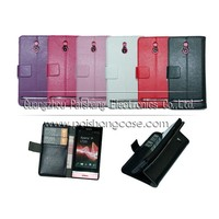 Wallet flip leather case for Sony Xperia P LT22i
