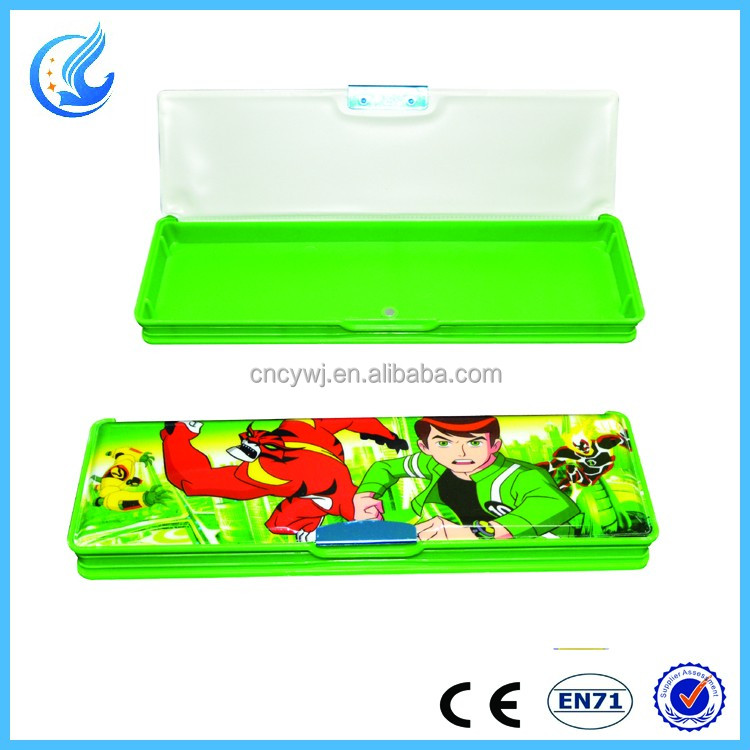 Very small single layer plastic pencil box with ben 10 for kids